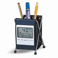 Free Shipping   Folding pen holder calendar clock, Leather pen holder calendar, Calendar debris rack, black 0.21kg