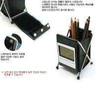 Free Shipping   Folding pen holder calendar clock, Leather pen holder calendar, Calendar debris rack, black 0.21kg  20pcs/lot