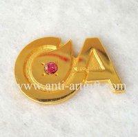 FREE SHIPPING,diamond lapel pin,gold diamond pin badge,customized diamond badge