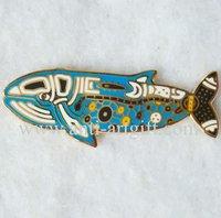 FREE SHIPPING,Fish badges emblem,gold metal pins,customized pin badge