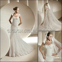 OL3760   Newest 2012Long Train Full   Beaded Lace Bridal Wedding Gown 2012
