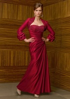 2013 Free shipping! hot sale!New Styles beaded satin with long sleeves jacket mother's dress mother of the bride dresses