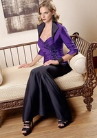 2013 Free shipping! hot sale!New Styles full-length satin strapless with jacket mother of the bride dresses