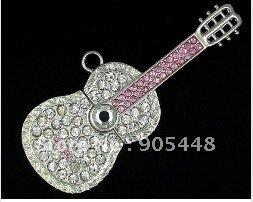 Free shipment 1GB 2gb 4GB 16GB Guitar Style Crystal 8gb USB Flash Drive Jewelry USB flash with key  Chain