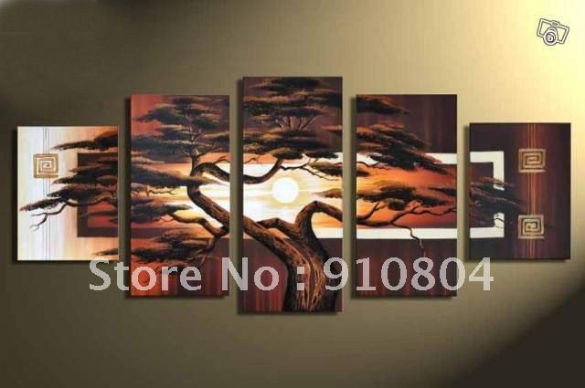 Framed 5 Panels Huge Wall Art Art Oil Painting Canvas Art African