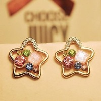2pairs/lot Copper Alloy 18K Gold Plated Star Shaped Rhinestone Stud Earrings Jewelry,Crystal Stud Earrings,Free Shipping