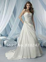 2012 new fashion luxury satin beaded hanging neck wedding