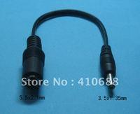 10 pcs DC Power Jack 5.5x2.1mm Female to 3.5x1.35mm Male Plug Cable 18cm 0.18m
