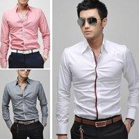 Free shipping New Stylish Mens Fashion Casual Slimfit Dress Shirts 4 colors