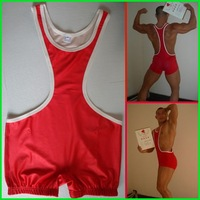 Red Wrestling Singlet Wear Uniform Athlete for Man Wrestling Match Singlet for Wrestler