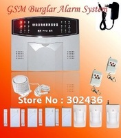 Hot-sale 1PCS/LOT Wireless Home GSM Alarm System 4pcs Wireless door contact and 3pcs PIR motion detector built-in antenna