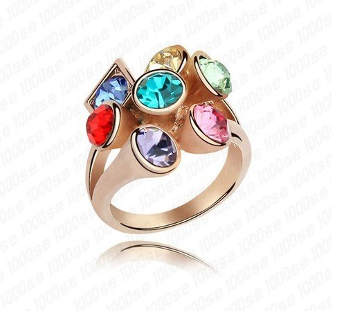 QS4171 new design blue stone ring gold engagement ring 4 colors engagement ring christmas idea valentine&#39;s gift(China (Mainland))