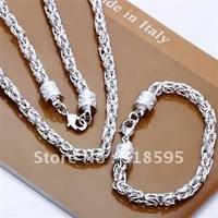 Wholesale - & Hot sell !925 sterling silver  New Wide Basket Necklace&Bracelet set for sale S027