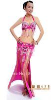 New High Quality Belly Dance Costume 2 pics set of  Bra&Belt / Bra Size: 34B/C,36B/C,38B/C,40B/C,11 colors