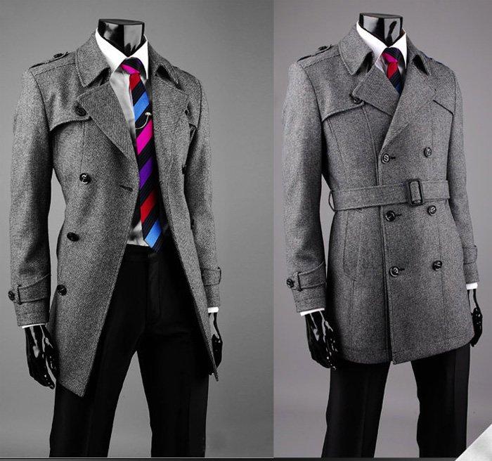 Men's Twill Fleece Double Breasted Peacoat Jacket Gray
