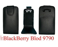 Free shipping&10pcs/Lot New High quality leather case for BlackBerry Bold 9790   (Black)