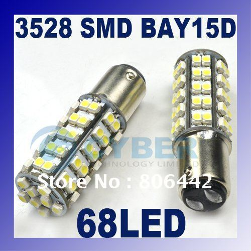 2 x 68 LED 3528 SMD 1157 BAY15D White DC 12V Car Bulb Stop Brake Light Lamp free shipping(China (Mainland))