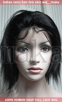 8INCH 1B Natural black Silk straight beautiful full lace wig with thin skin 100% human Indian indic remy wigs