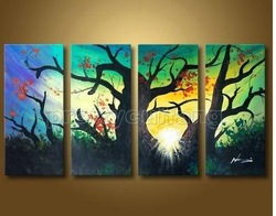 Huge Modern Handmade Landscape Tree Oil Painitng On Canvas Pm307(China (Mainland))