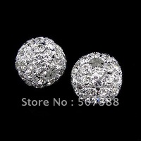 22mm 10pcs Silver Plated Rhinestone Copper Jewelry Loose Beads Charms For Bracelet&Necklace Making Free Shipping kq-9002