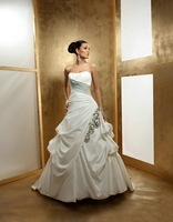 2013 Free shipping!new arrival!strapless flowers appliques satin ball gown royal wedding dresses