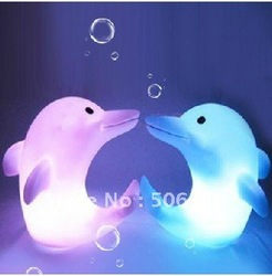 50pcs 7 colour LED dolphin small night lights &gradient bedroom wall lamp light warmly and(China (Mainland))