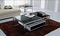 Living room coffee table, stainless steel, black painted, tempered glass rectangular.(China (Mainland))