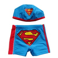 Wholesale 5sets/lot High quality Baby Swimwear Kids' trunks for boy Blue superman ETYY05 Free Shipping