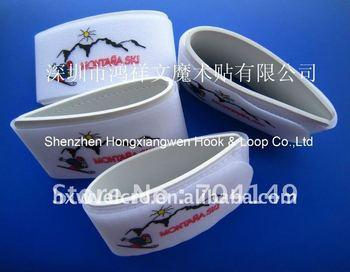 Free shipping 50X440mm Custom logo 100% Nylon Velcro ski fix strap