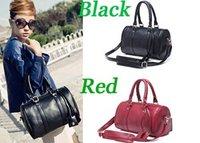 Lady Faux PU Leather Boston Tote Glossy Shoulder Bag Handbag Baguette Women
