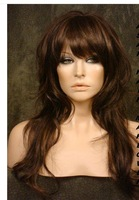 NEW Dark Brown/Blonde Mix Long Body Wavy Wig Wigs Brazilian fashion