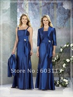 Free shipping!! QNBD0306-35 Silky Taffeta Wide Straps With Jacket  Mother of the Bride Dresses