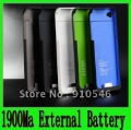 Rechargeable 1900MA external back up battery for iphone 4 4S,with retail package 5colors many stock