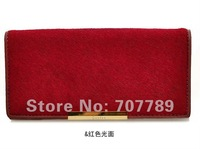 2011 New style women real leather clutch wallet free shipping Wholesale / Retail red
