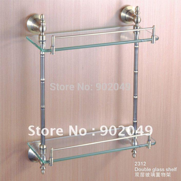 Estantes De Cristal Para Baño:Cristal elegante doble estante estantes de pared modernos accesorios