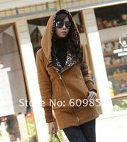 Korea Leopard Fleece Women's Hoodie Coat Sweatshirt Jacket Warm Outerwear