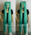 free shipping>>>>>>VOCALOID Hatsune Miku Onion Green Extra Long Straight Split Cosplay Wig  + gift