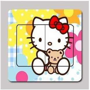 Free Shiiping hello Kitty color switch wall- affixed cartoon decoration stickers Switch stickers DIY home decoration