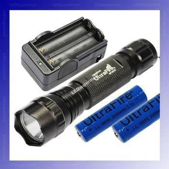 [BLACK] WF-501B U2 Cree XM-L U2 1200 Lumens LED Flashlight +2 x 18650 3000mAh battery+Charger + Free shipping