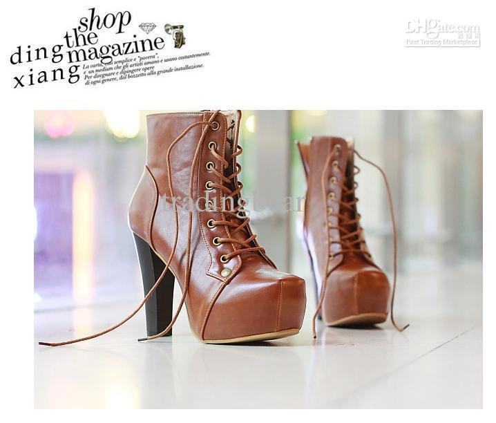 On Sale Platform shoes Designer shoes square toes t-strap closure lace up wooden heel shoes(China (Mainland))