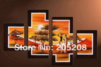 Framed 4 Panel Large Oil Paintings Canvas African Art Landscape Modern Picture XD00377