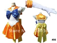 Sailor Moon Venus Mina Cosplay Costume yellow dress freeshipping #06