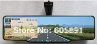 Car rear view mirror+GPS+bluetooth+720P HD DVR+radar detector+wireless reversing camera Multi-language