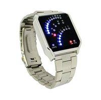 29 Binary LED Digital Wrist Watch Silver  31335 Free Shipping