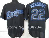 Free shipping-Los Angeles Dodgers #22 Kershaw Black Fashion jersey,Dodgers jerseys,baseball jerseys