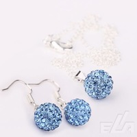 Free Shipping Ball beads Blue Shamballa Jewelry pendant Earrings crystal Necklace set mixed colors