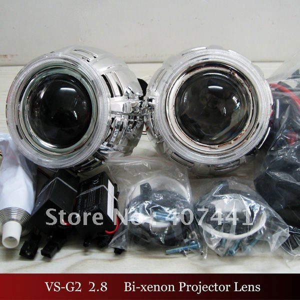 Wholesales Newest 2.8 inch HID Bi-Xenon Projector Lens Light+Devil Eyes+ Angel Eyes High Quality(China (Mainland))