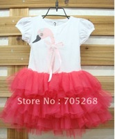 New Style Free Shipping Children pink Girl Swan dress,baby T-shirt ,infant dress/baby and child dress 5pcs/lot