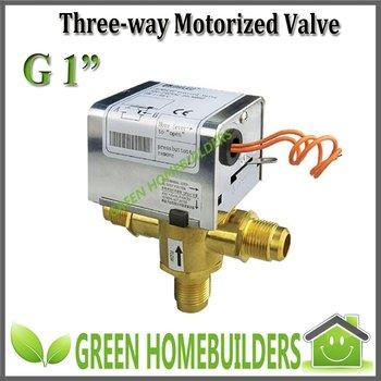 "2pcs/lot,G1"" motorized ball valve 3 way , 220-240VAC50/60Hz,magnetic hysteresis synchronous motor 5RPM,Removable actuator"