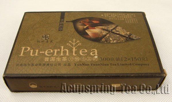 2010 Year Puerh Raw Tea 300g 2 150g Brick Puer Pu er PB28 Free Shipping